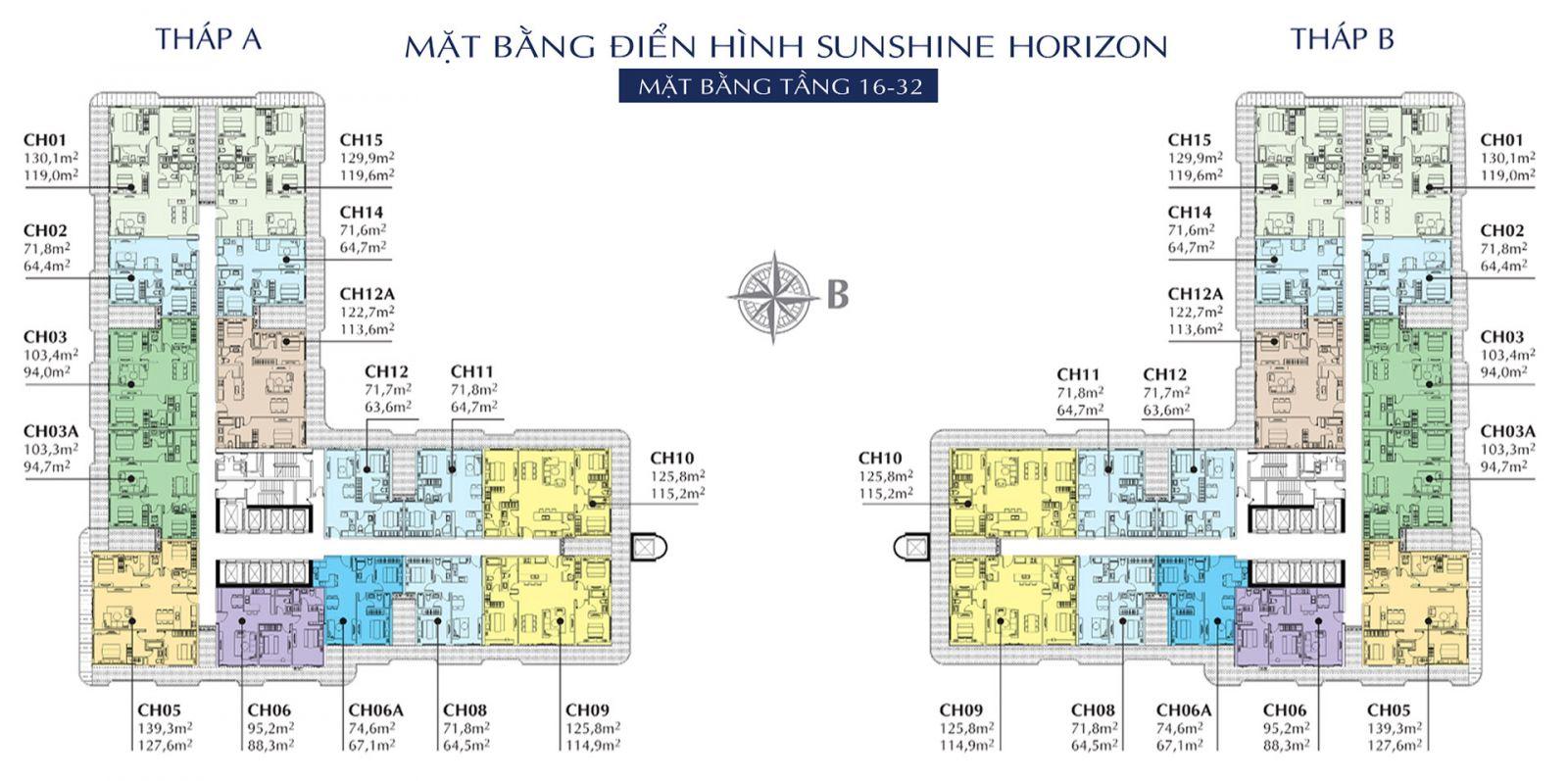 Mặt bằng tổng thể tầng 16-32 căn hộ Horizon Quận 4