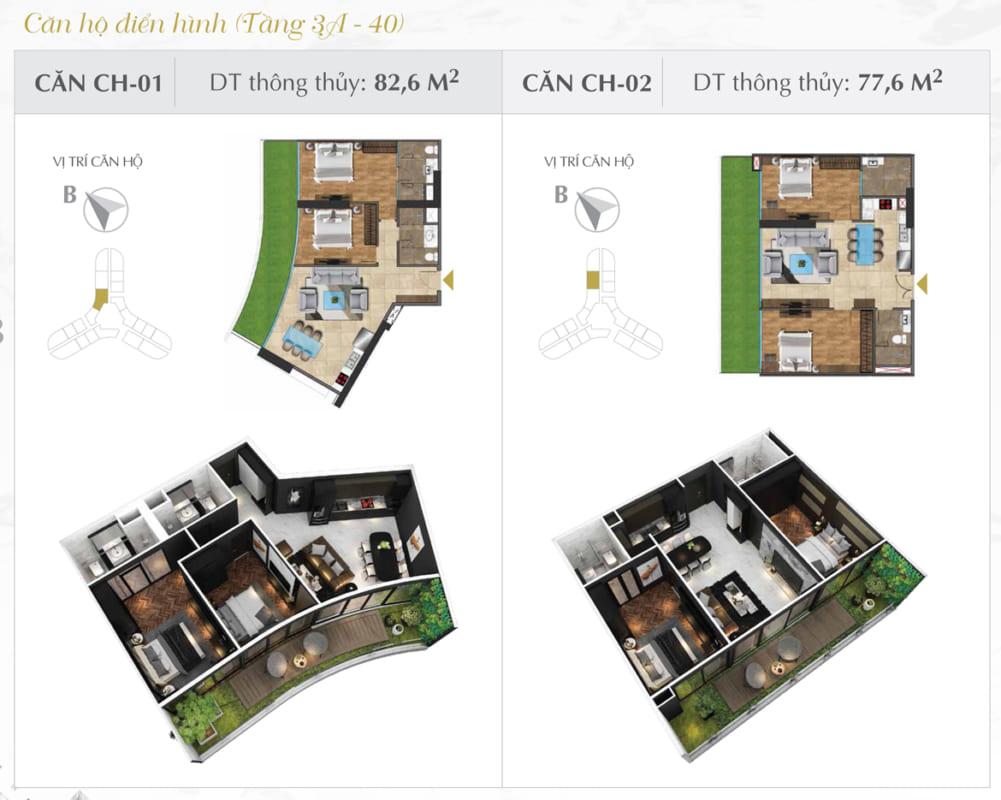 Thiết kế căn hộ Sunshine 82.6m2