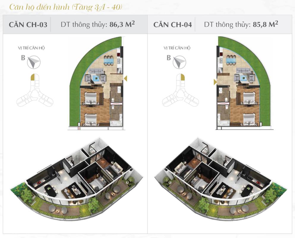 Thiết kế căn hộ Sunshine 86.3m2
