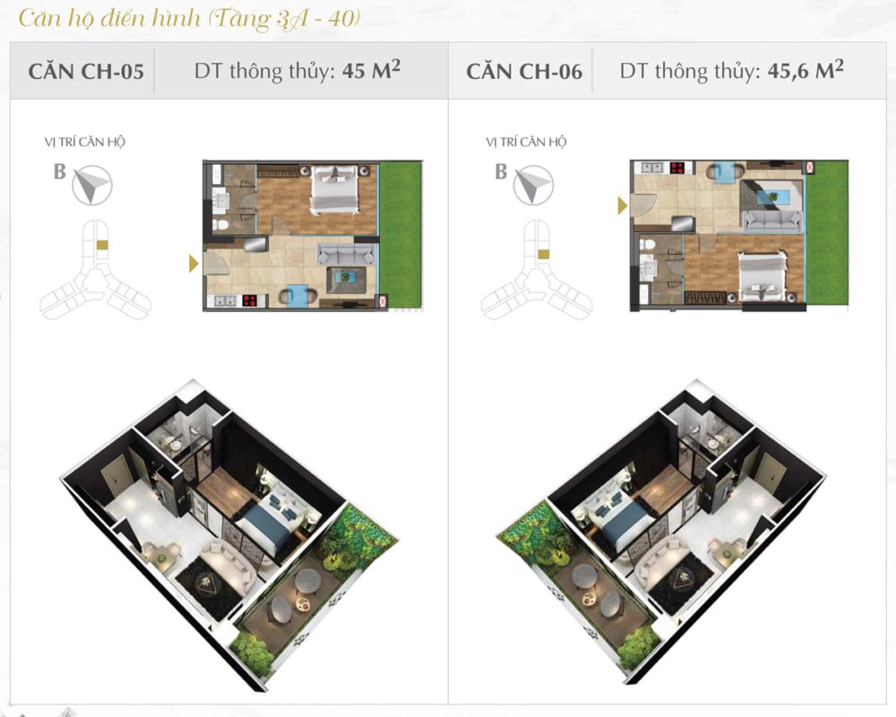 Thiết kế căn hộ Sunshine 45.6m2