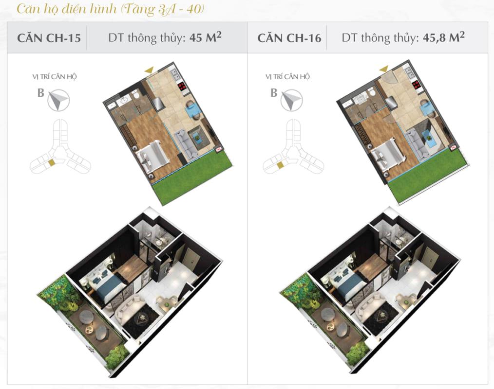Thiết kế căn hộ Sunshine 45.8m2