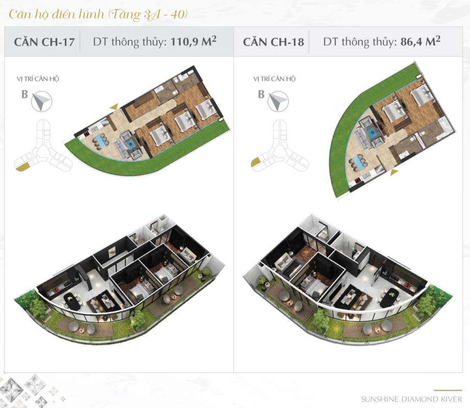 Thiết kế căn hộ Sunshine 110.9m2