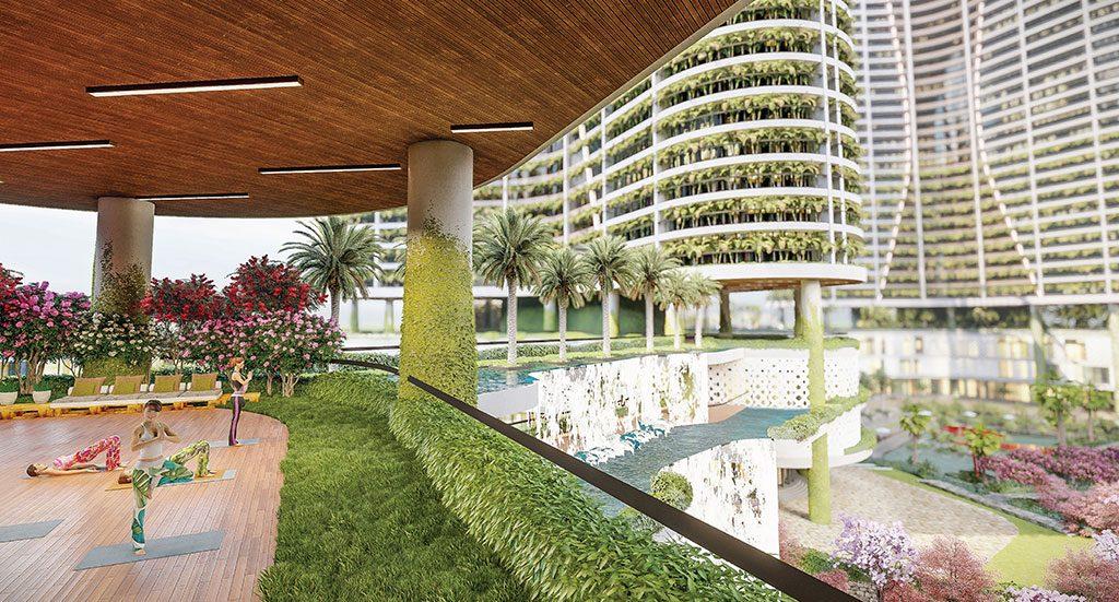 Các khu vườn nhiệt đới phân bổ quanh sông nhân tạo, bao quanh các tòa nhà.