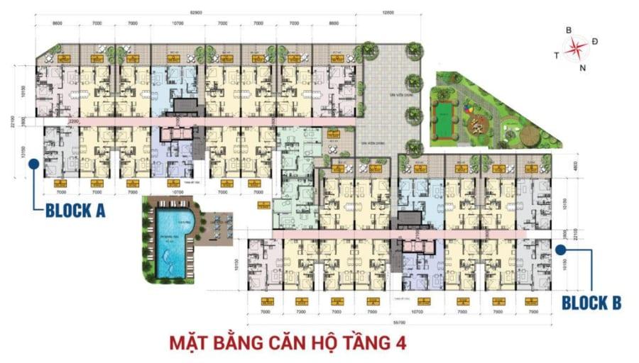 Mặt bằng căn hộ tầng 4 dự án High Intela Quận 8