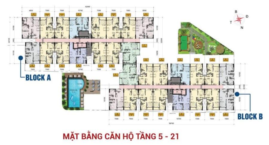 Mặt bằng căn hộ tầng 5 - 21 dự án High Intela Quận 8