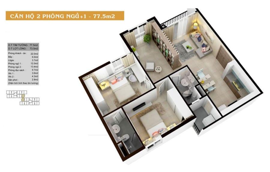 Phối cảnh căn hộ High Intela diện tích 77.5m2