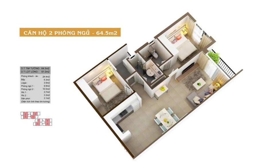 Phối cảnh căn hộ High Intela diện tích 64.5m2