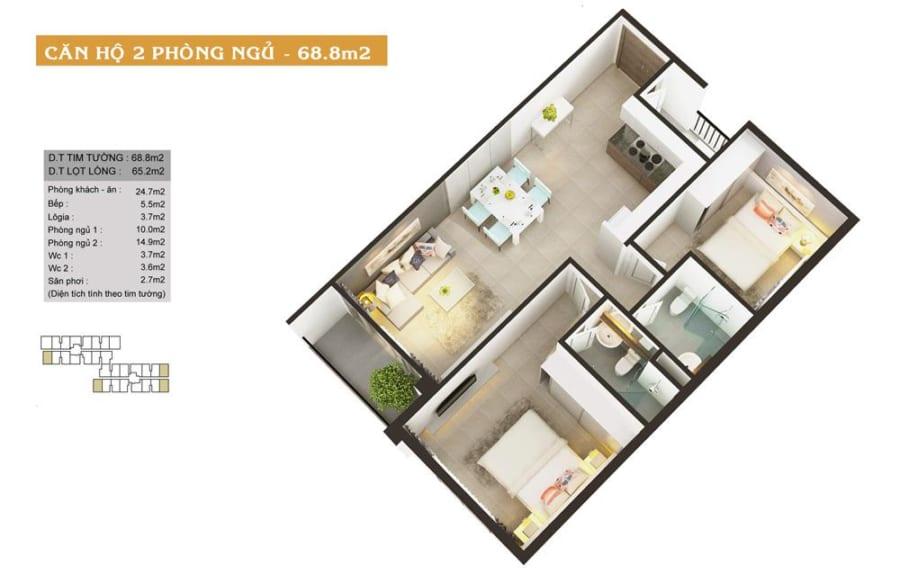 Phối cảnh căn hộ High Intela diện tích 68.8m2