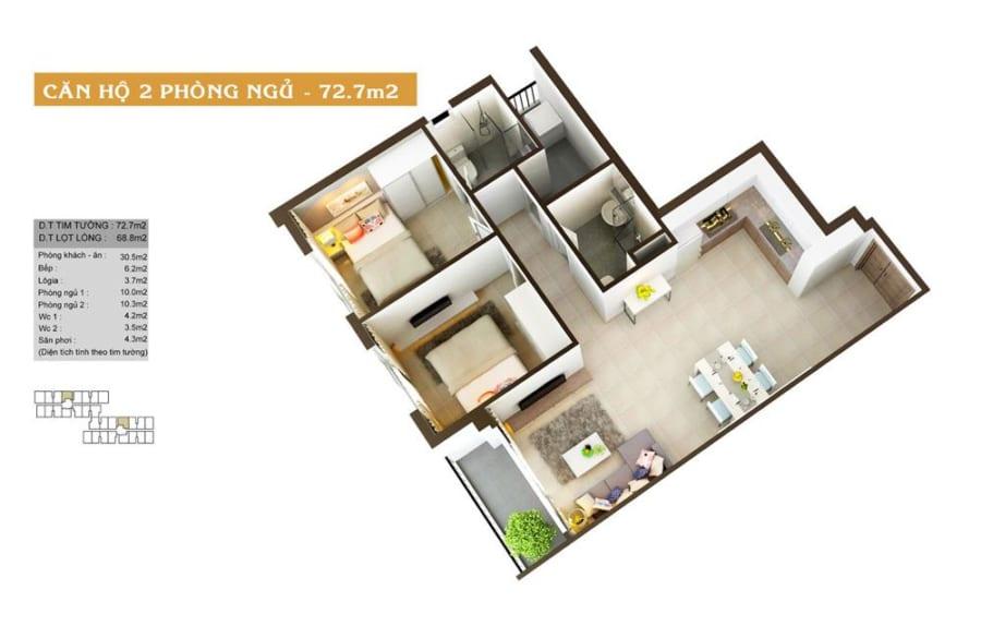 Phối cảnh căn hộ High Intela diện tích 72.7m2