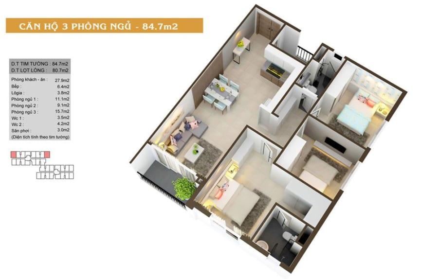 Phối cảnh căn hộ High Intela diện tích 84.7m2