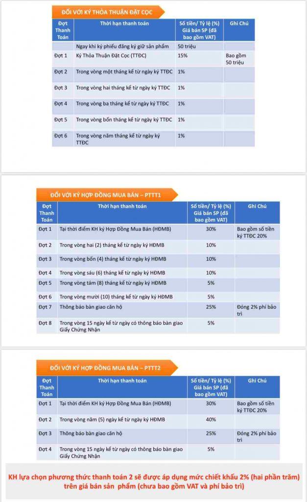 Phương thức thanh toán áp dụng cho dự án High Intela Quận 8