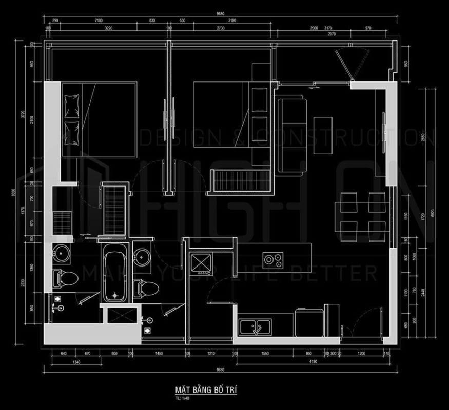 Mặt bằng thiết kế căn hộ Kingdom 101 loại 2PN diện tích 70m2