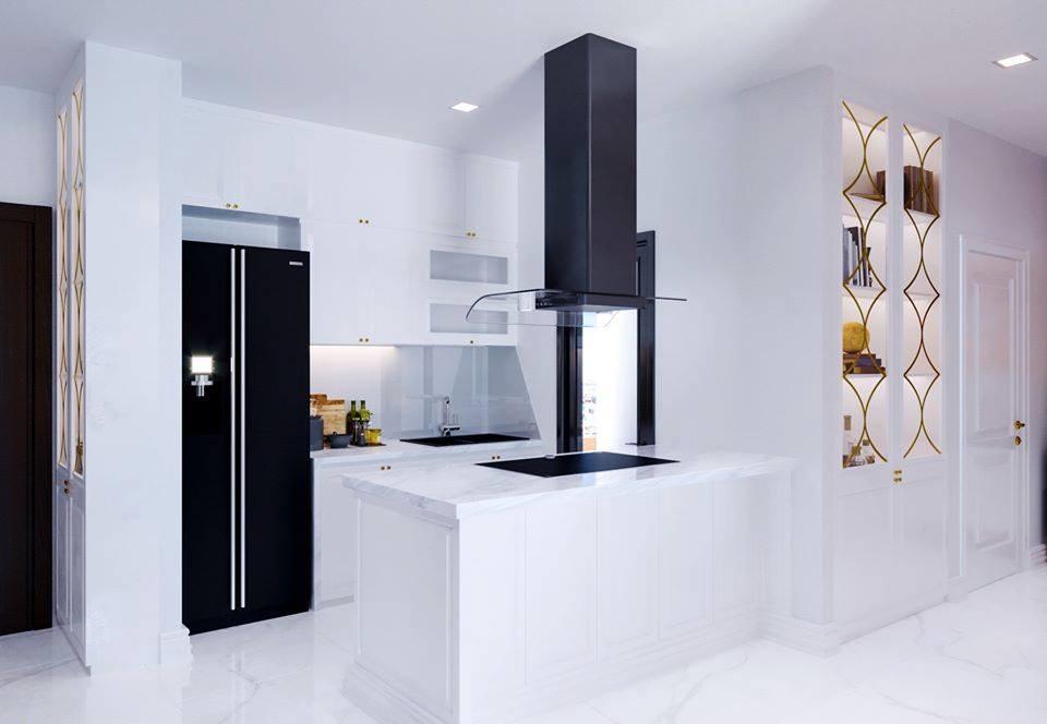 Không gian bếp được thiết kế 2 màu đen trắng bắt mắt