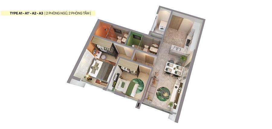 Thiết kế căn hộ Citi Grand loại A1,A2,A3