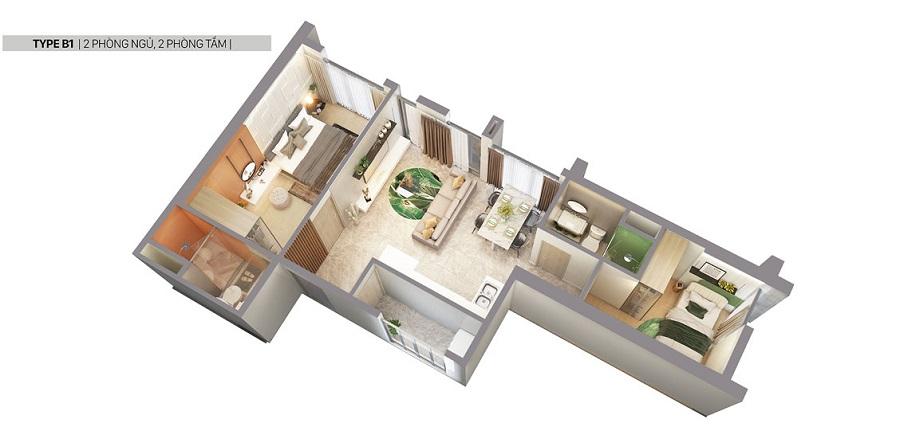 Thiết kế căn hộ Citi Grand loại B1