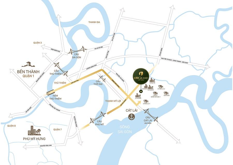 Vị trí dự án căn hộ Citi Grand Kiến Á
