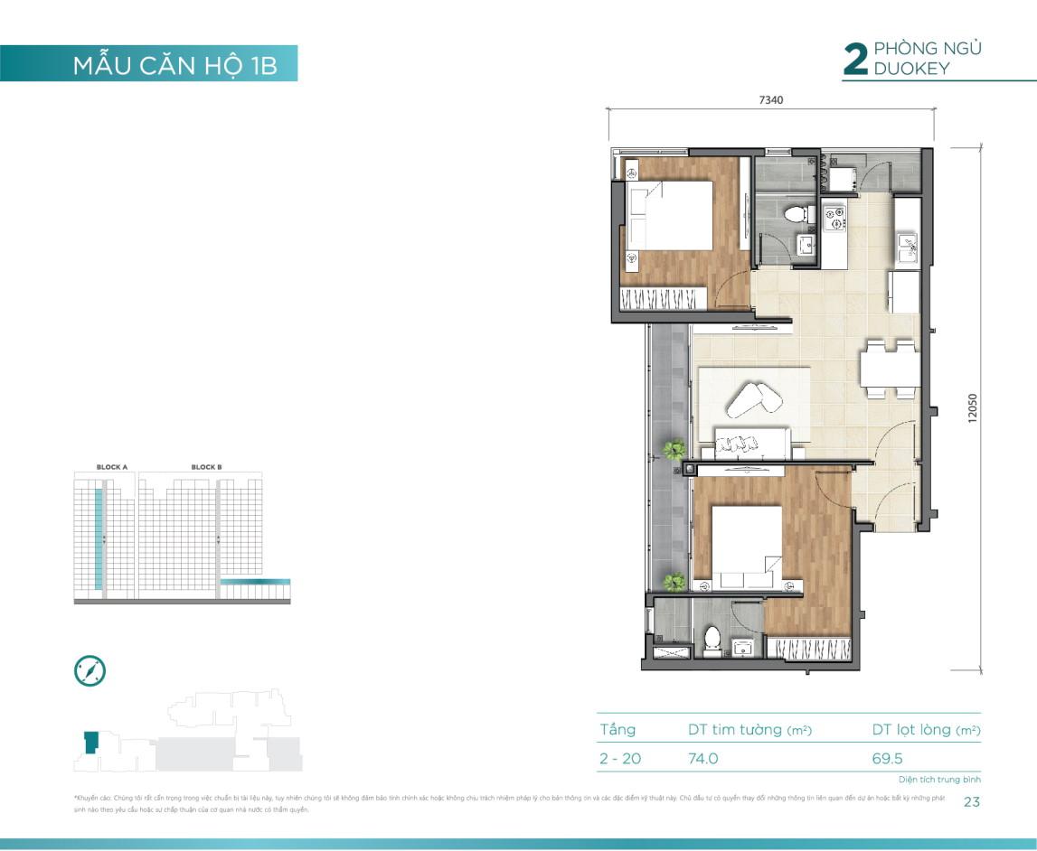 Mẫu căn hộ 2PN duokey dự án D'Lusso Emerald Nguyễn Thị Định Quận 2