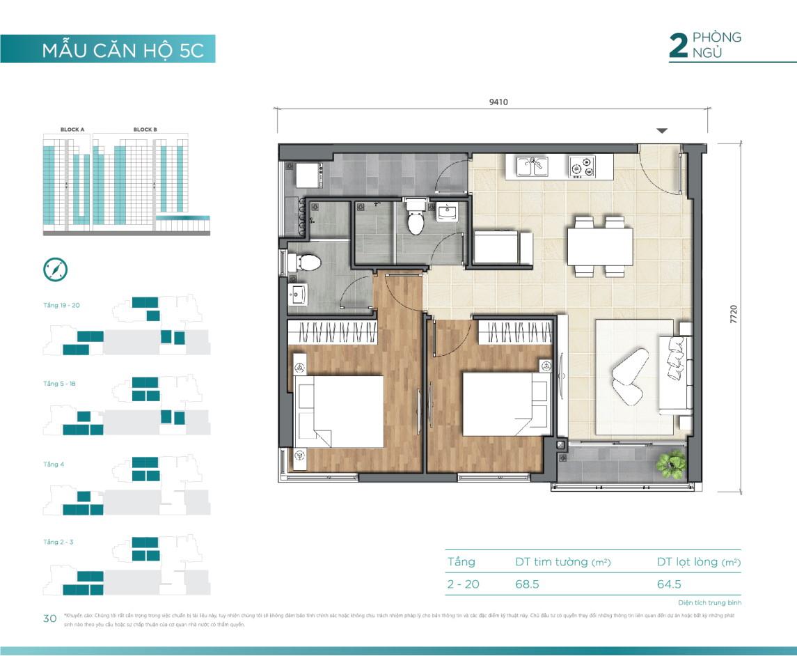 Mẫu căn hộ 2PN dự án D'Lusso Emerald Nguyễn Thị Định Quận 2