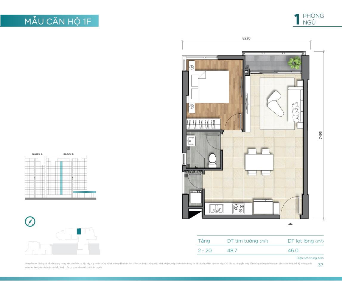 Mẫu căn hộ 1PN dự án D'Lusso Emerald Nguyễn Thị Định Quận 2