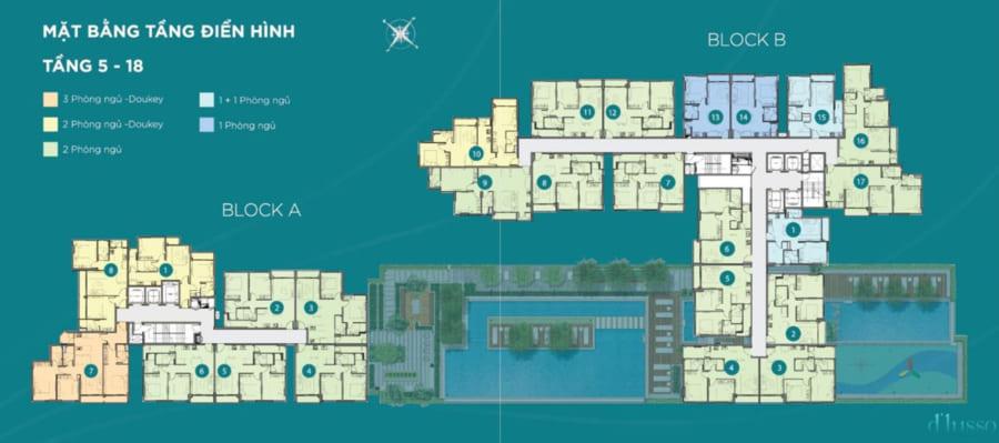 Mặt bằng tầng điển hình tầng 5-18 dự án D'Lusso