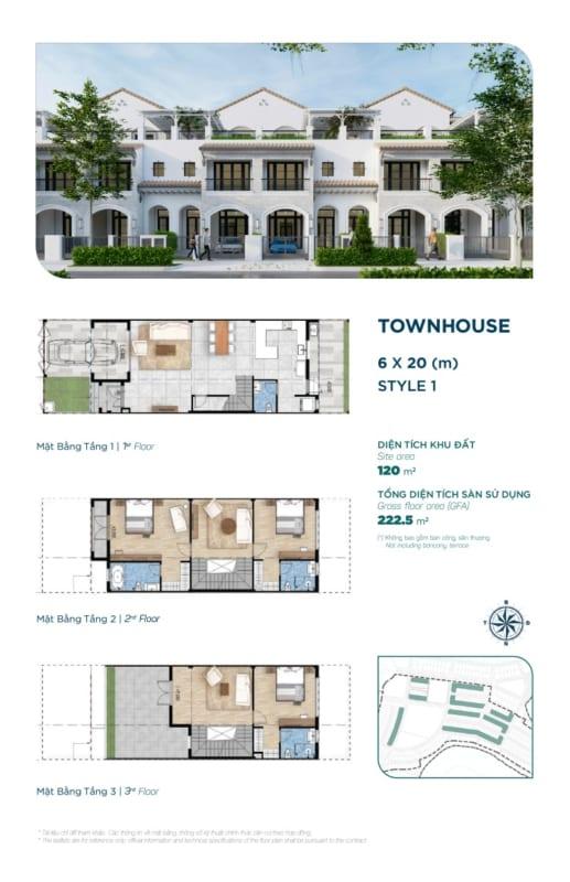 Thiết kế nhà phố River Park Aqua City diện tích 6x20m