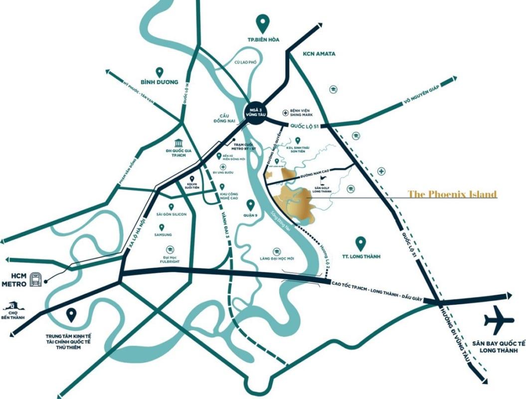 Vị trí địa chỉ dự án nhà phố Aqua City The Phoenix Island Biên Hòa Đồng Nai chủ đầu tư Novaland