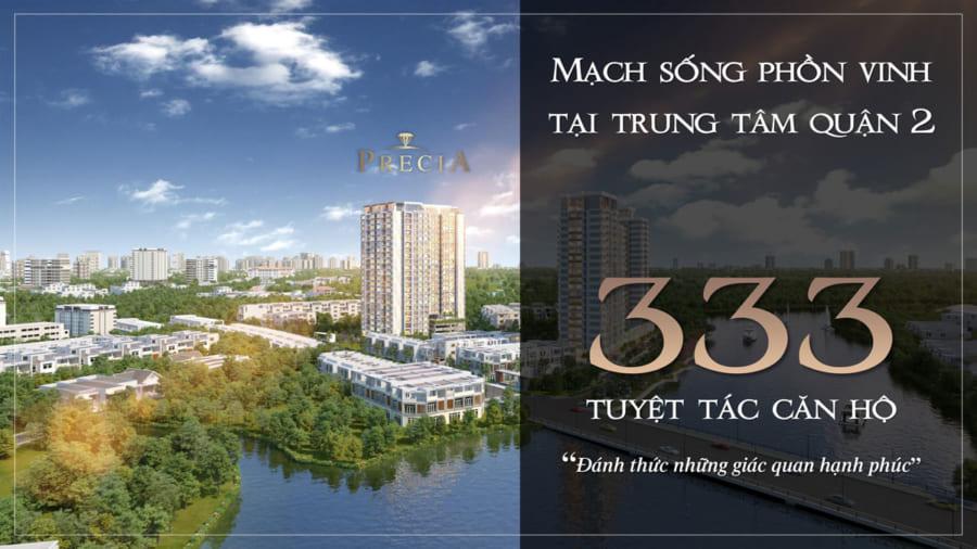 Dự án Precia có tổng cộng 333 căn hộ & 8 căn TMDV