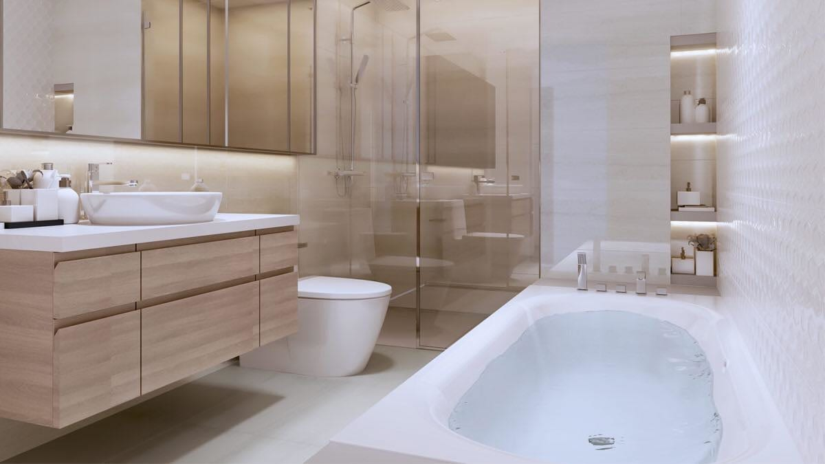 Nhà vệ sinh trang bị bồn rửa, bồn tắm, thiết bị vệ sinh đầy đủ tại căn hộ Kingdom 101