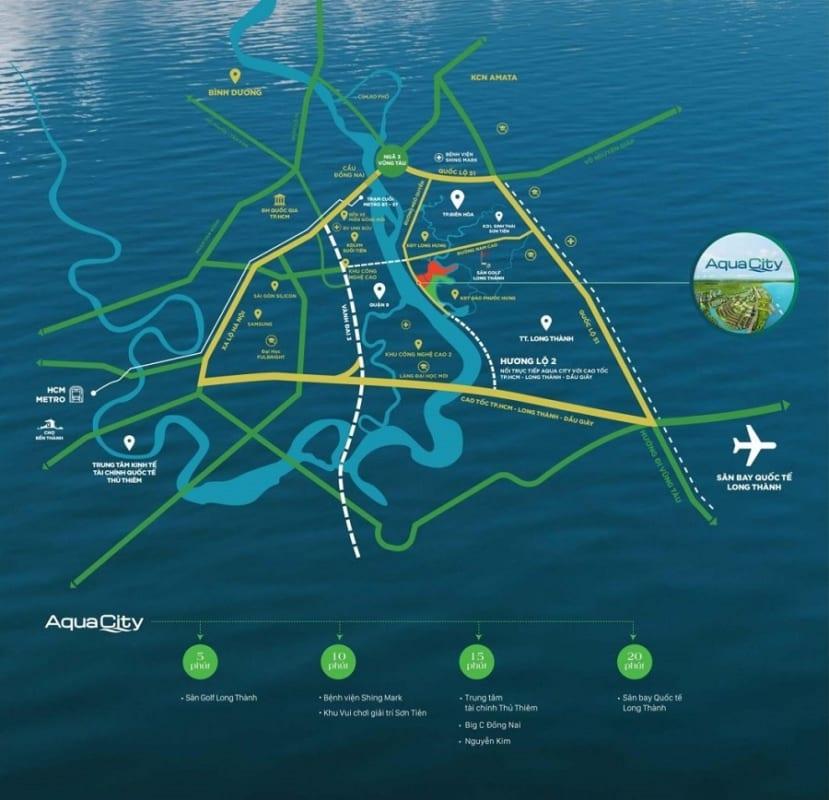 Vị trí kết nối Aqua City thuận tiện và di chuyển dễ dàng