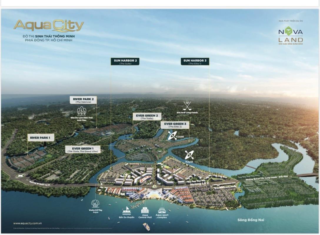 Sơ đồ phân bổ các tiện ích trong khu đô thị Aqua City