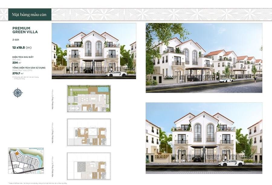 Biệt thự song lập Premium Green Villa: Diện tích 12×19.5m