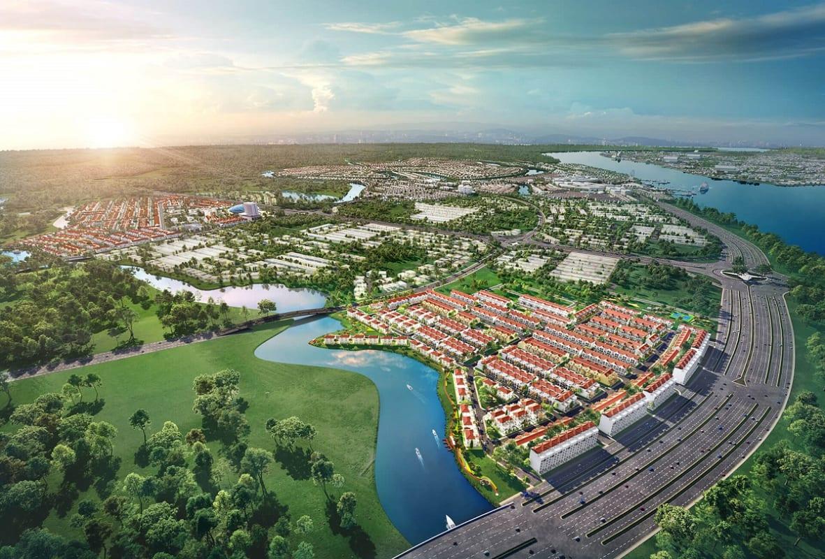 Vị trí phân khu River Park 1 nằm ngay cửa ngõ Aqua City trên con đường đại lộ ven sông Hương Lộ 2
