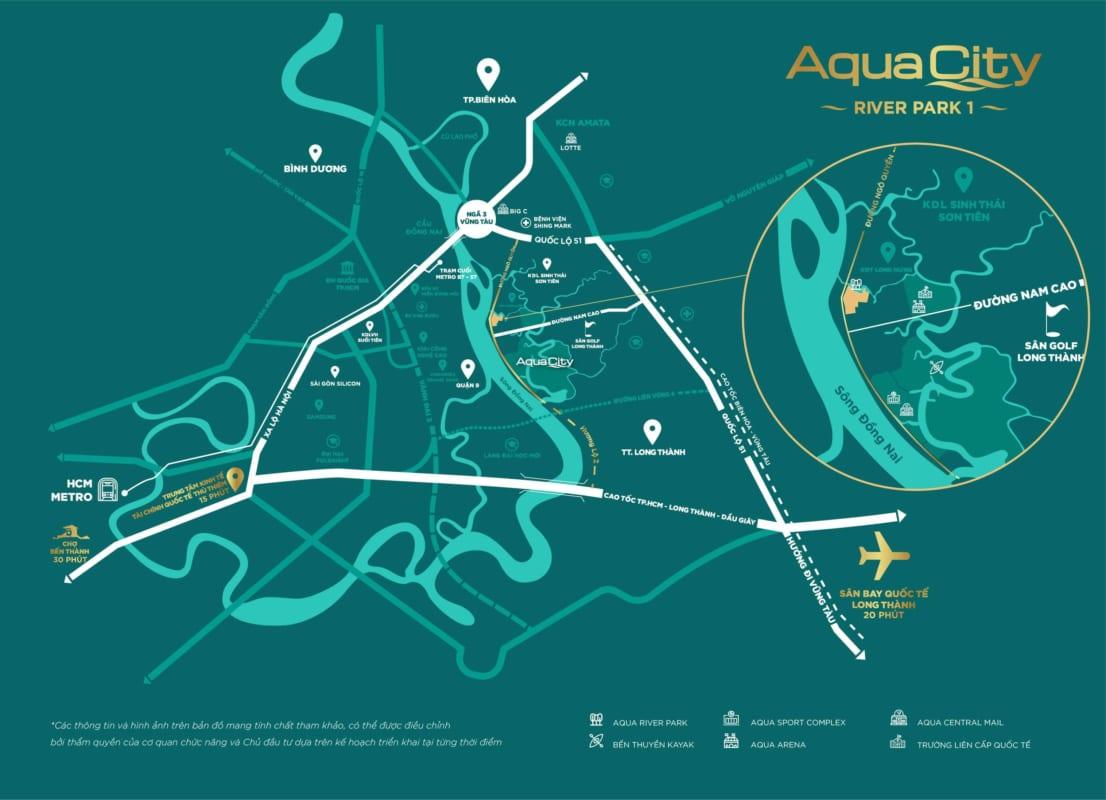 Vị trí dự án khu đô thị Aqua City Biên Hòa Đồng Nai