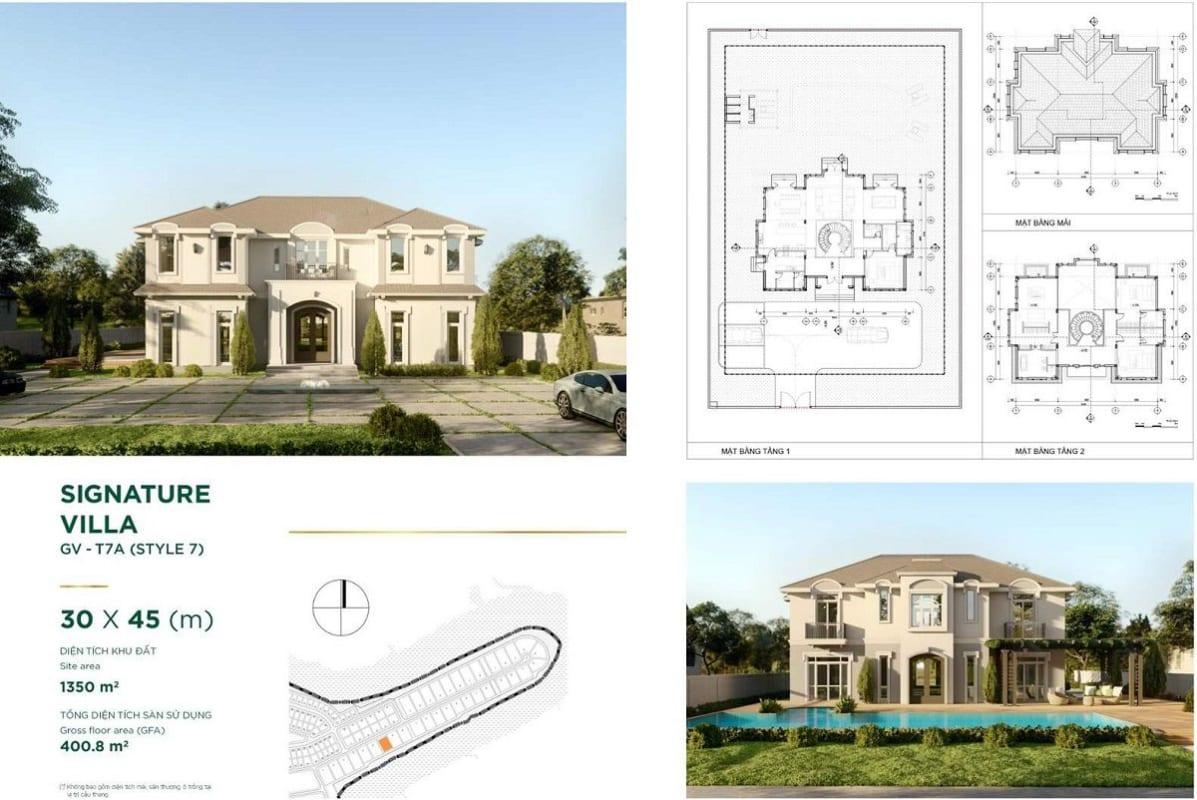Thiết kế dinh thự Stella Aqua City Novaland – mẫu Signature Villa 7 – diện tích 30x45m