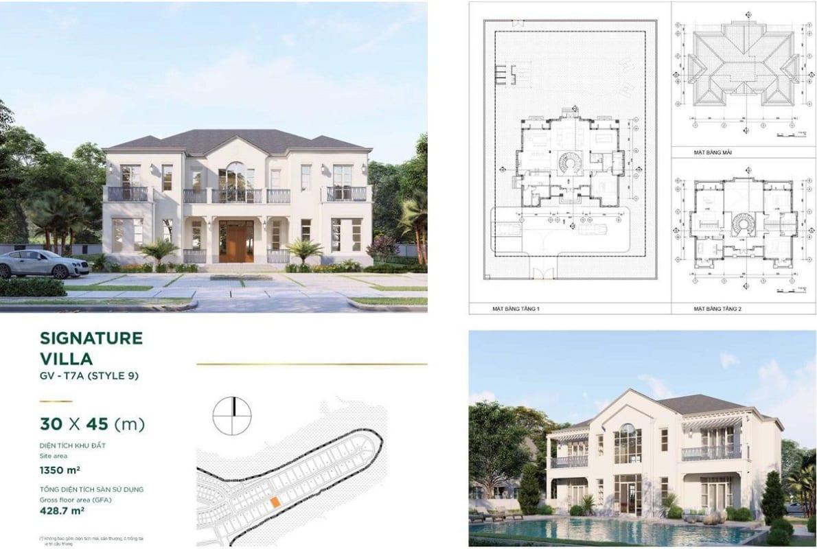 Thiết kế dinh thự Stella Novaland – mẫu Signature Villa 9 – diện tích 30x45m