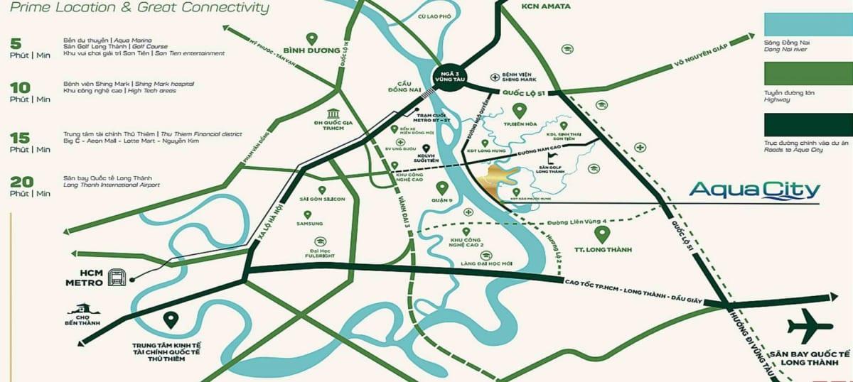 Vị trí Aqua City Biên Hòa - Đồng Nai thuộc khu đô thị sinh thái xã Long Hưng