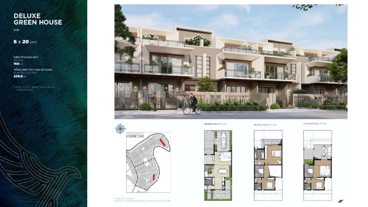 Thiết kế nhà phố 8x20m Duluxe Green House Aqua City The Phoenix South